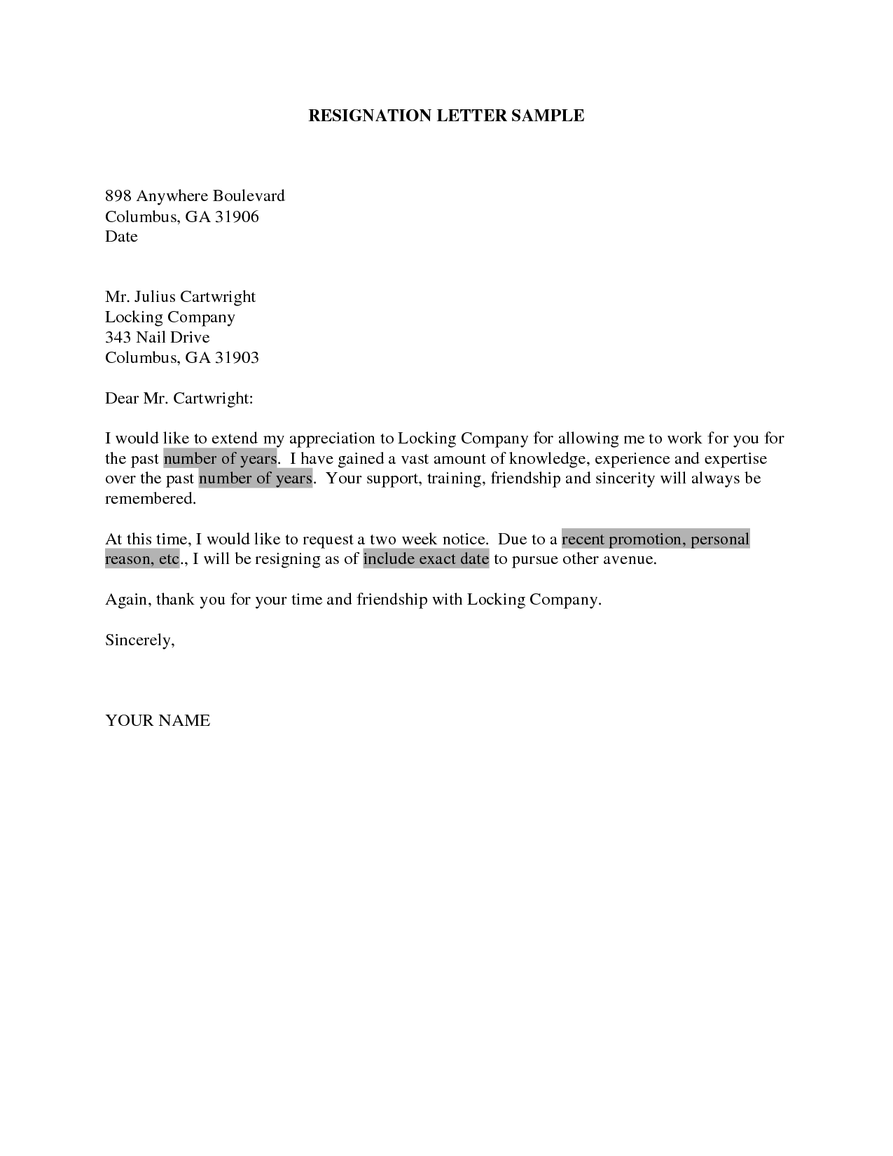 resignation letter due personal reasons resignationwriting