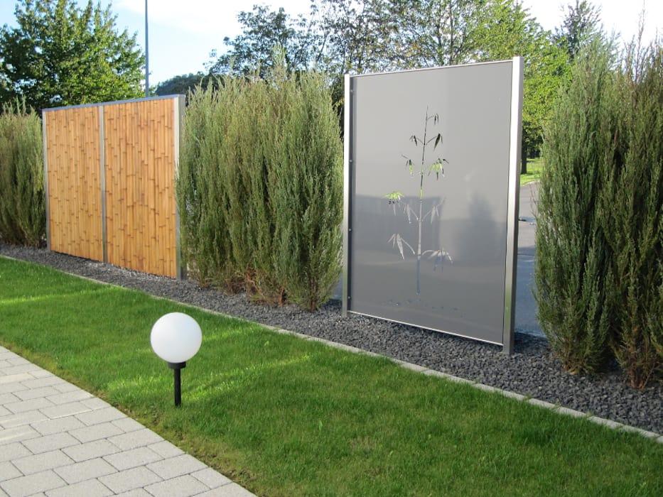 Edelstahl Und Aluminium Sichtschutz Moderner Garten Von Edelstahl Atelier Crouse Modern Ho In 2020 Modern Garden Types Of Fences Patio Weather