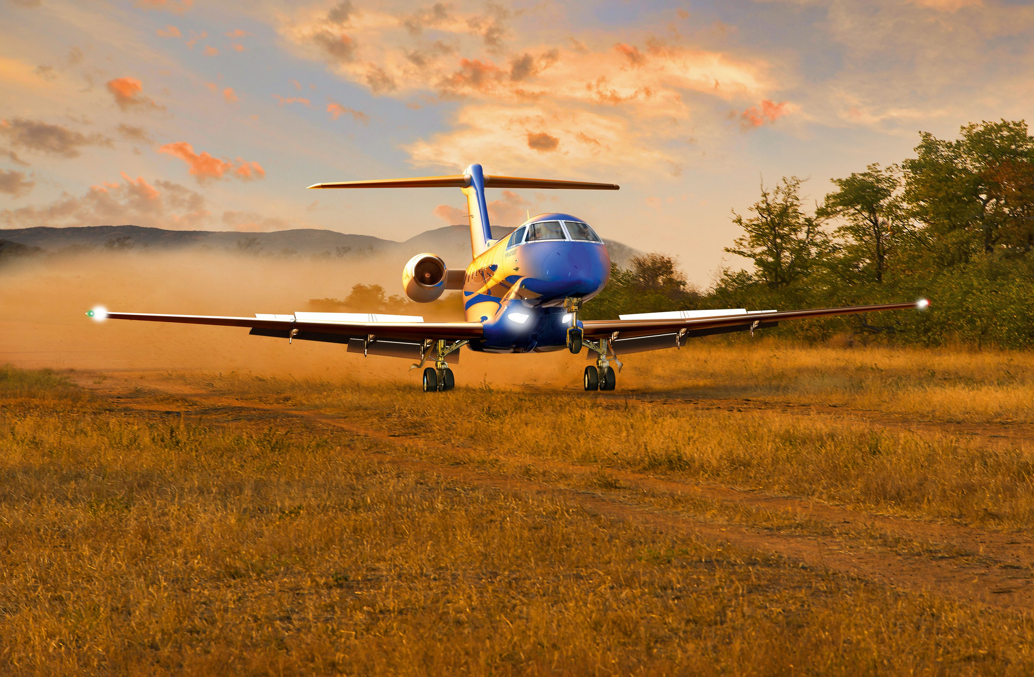 A rendering of a Pilatus PC-24 doing what sets it apart: landing on an improvised field – Image: Pilatus