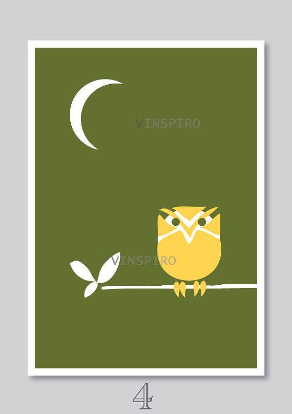Owl art print kids nursery decor bird illustration by Vinspiro, $18.00