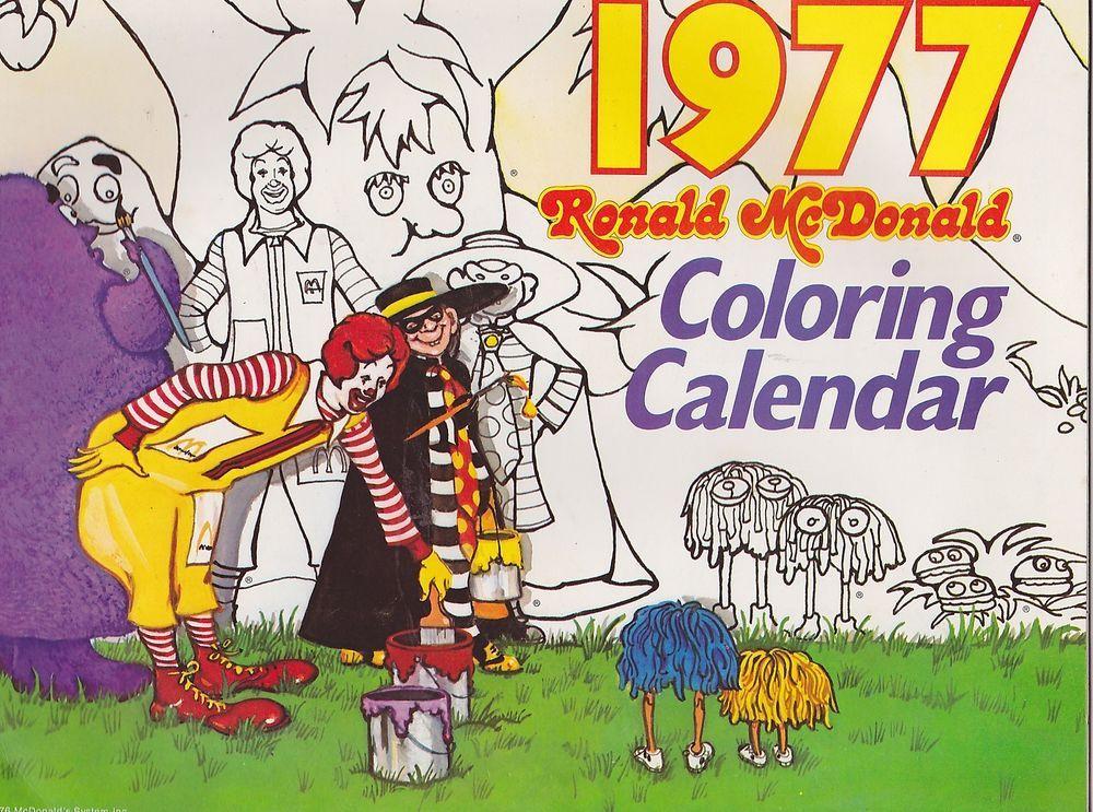1977 Ronald Mcdonald Vintage Coloring Calendar Looked