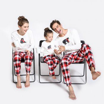 2 Piece Polar Bear Printed Long Sleeve Top And Plaid Pants Set