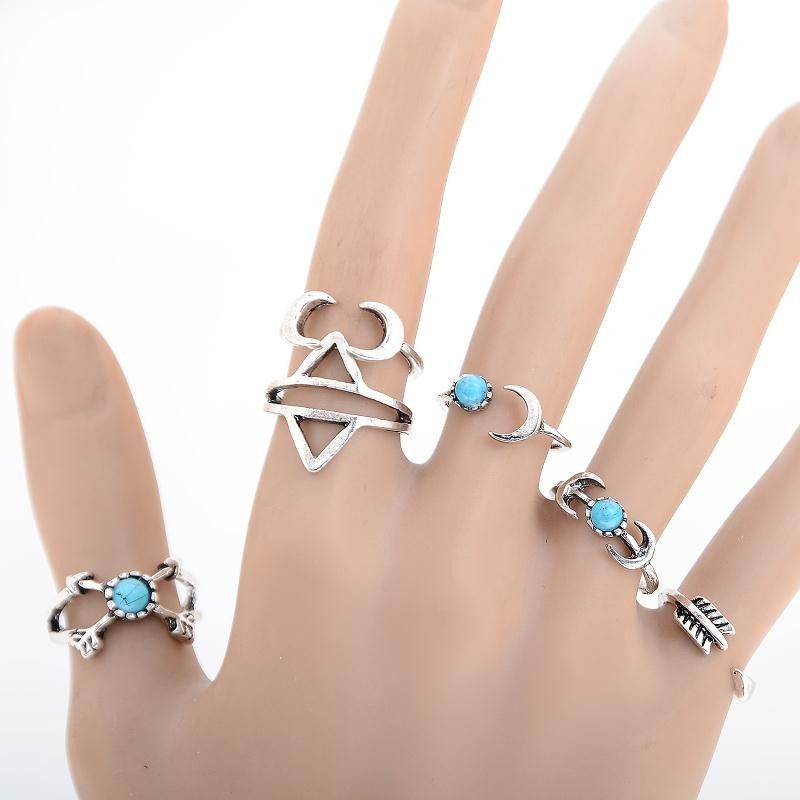 6Pcs/1 Set 2016 Fashion Vintage Punk Moon Rings Ethnic Carved Statement Silver Plated Finger Ring Charm Midi Ring Set