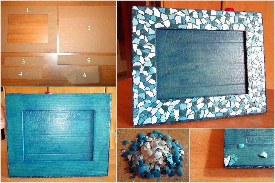 Marco De Carton Decorado Con Cascaron De Huevo Pintados Frame Diy Creative Creative Crafts