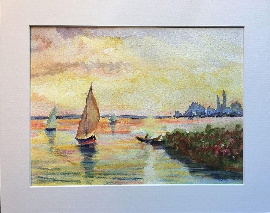 Sailboats in Provence by Bethany Ramey Trombley Watercolor ~  x