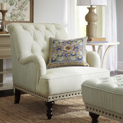 Marvelous Chas Gray Blue U0026 White Seersucker Armchair