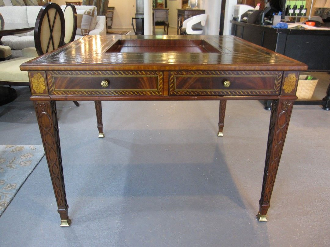 Maitland Smith Mahogany Game Table (Item# 3131 024), Call Eisenhower  Consignment For Special Pricing
