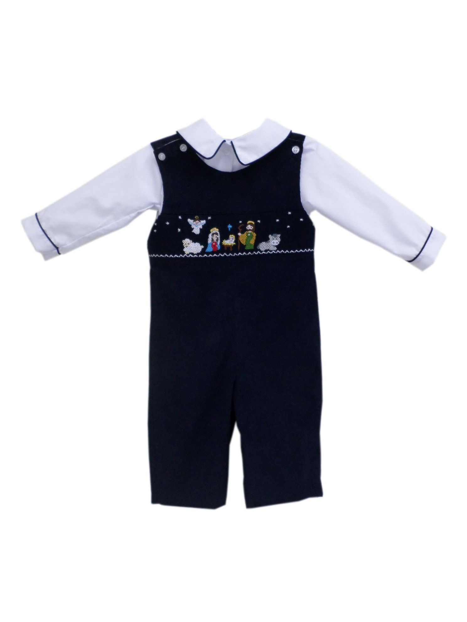 d8d24f782981 New Born Baby Boys Smocked Nativity of Jesus Christmas Longall NB ...