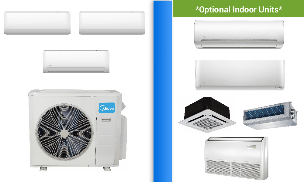 Midea 3 Zone Ductless Mini Split In Minisplitwarehouse Com Get Midea 3 Zone 20 Seer D Heat Pump Air Conditioner Ductless Air Conditioner Air Conditioner Prices