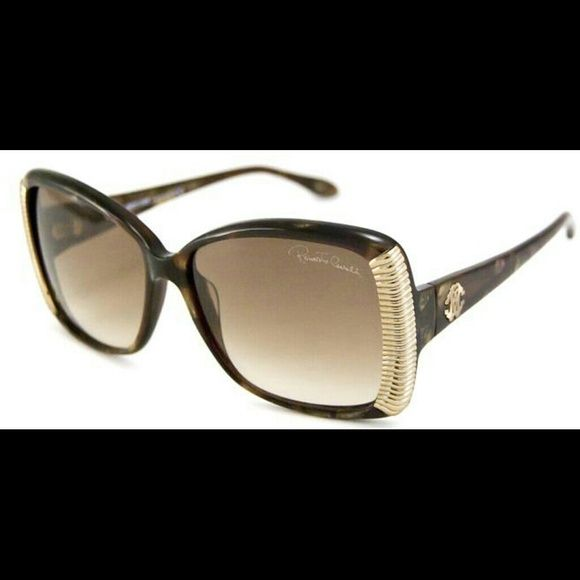 Roberto Cavailli Alloro 656s sunglasses Roberto Cavalli Alloro features a beautiful translucent Havana style throughout the frame, bridge and temples. Frames edges are bonded with a silverish gold colored design. End pieces carry the gold colored metal logo. Robert Cavailli lettering is etched just over the left eyeglass. Roberto Cavalli Accessories Sunglasses