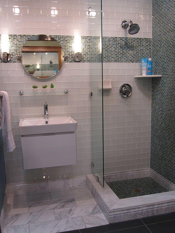Modern glass subway bathroom