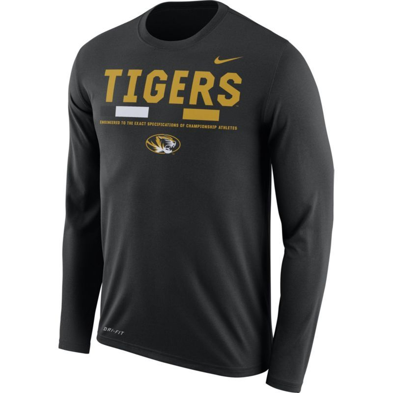 Nike Men's Missouri Tigers Football Sideline Staff Legend Black Long Sleeve  Shirt