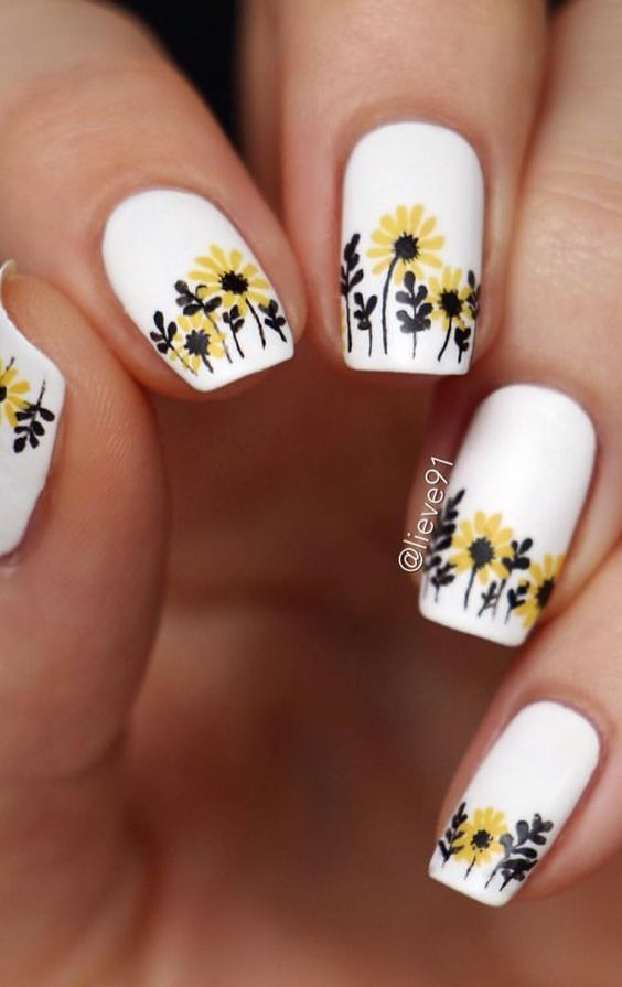 63 Bright Floral Nail Designs You Should Try For Spring 2019 With Images Sunflower Nails Sunflower Nail Art Floral Nail Designs