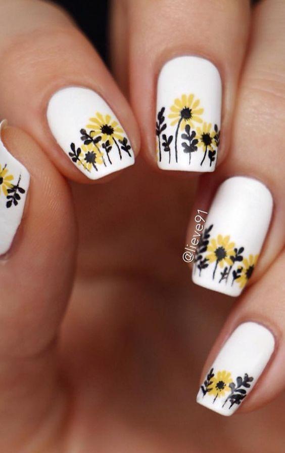 Spring Floral Nails Flower Nails Simple Spring Nails Spring Nail Colors Short Spring Nails Acrylic Sunflower Nail Art Sunflower Nails Floral Nail Designs