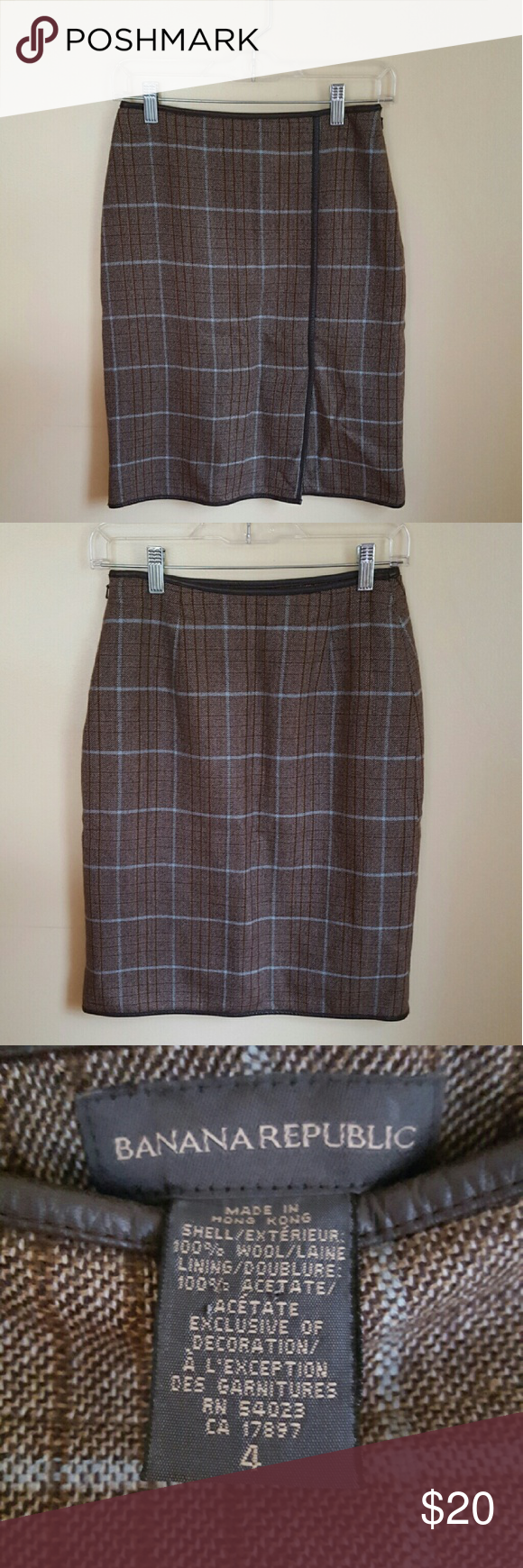 """Banana Republic Wool Plaid Skirt Banana Republic Wool Plaid Skirt in size 4. Gently worn. Fully lined. Brown and blue plaid pattern. Faux leather trim on top, bottom, and front of skirt. Side zip with hook and eye closure. Approximately 8"""" front slit. Waist is approximately 26"""" and total length is 22"""". A little wrinkled throughout. No rips, stains, or pulls. No trades but reasonable offers are welcomed. Banana Republic Skirts Pencil"""