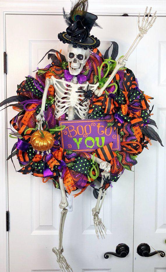 Skeleton with top hat wreath Halloween wreath for front door