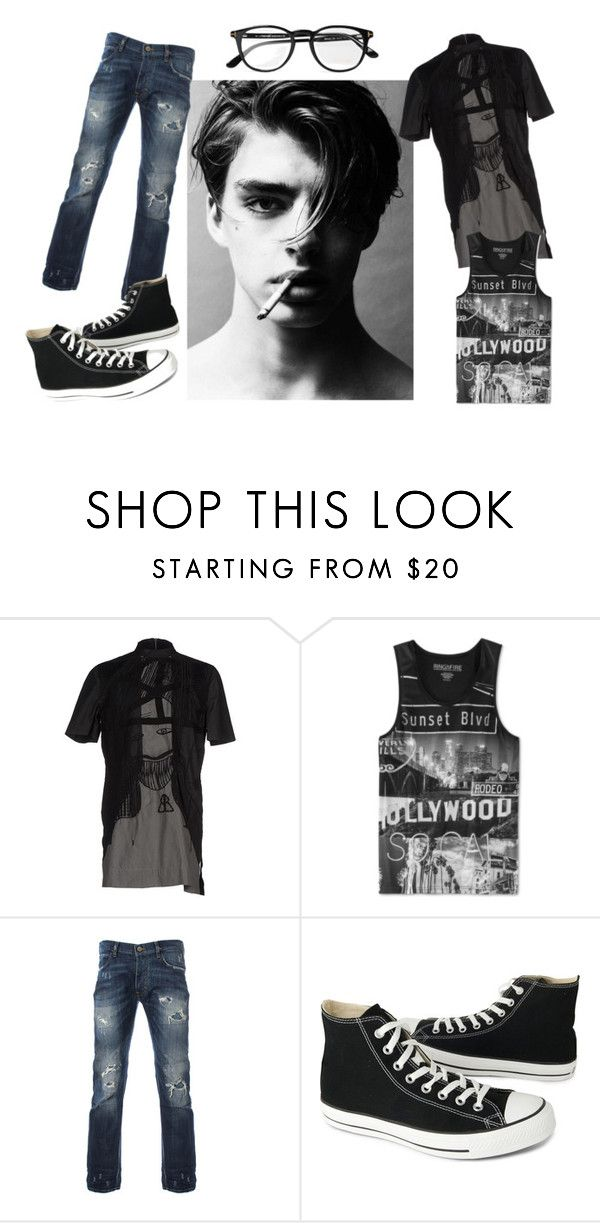 """Fifty shades of..."" by nick-alena-delliveneri ❤ liked on Polyvore featuring Rick Owens, Ring of Fire, Converse and Tom Ford"