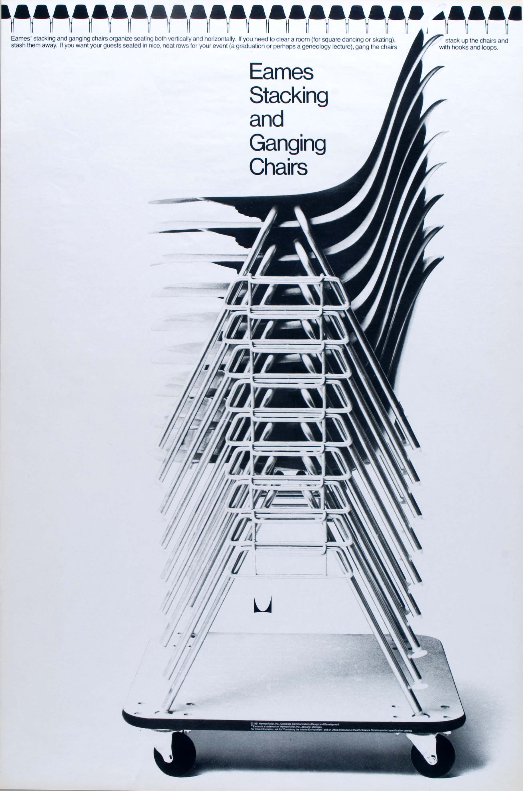 Eames Stacking And Ganging Chair Poster Circa 1960. Charles And Ray Eames  Designed The Dolly