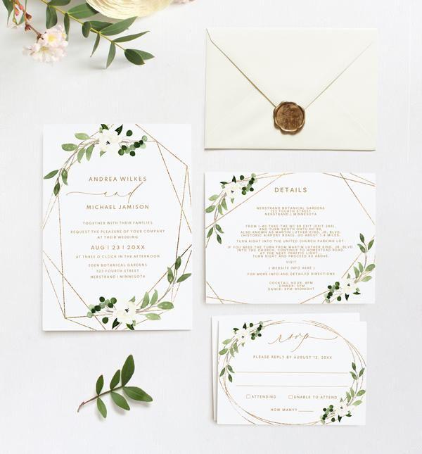 Wedding Invitation Template Suite Set 5 X 7 Geometric Greenery Templett Geometric Wedding Invitation Wedding Invitation Templates Wedding Invitations
