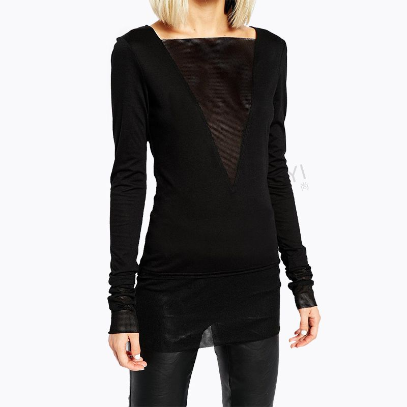 autumn new Europe and America Nightclubs Sexy deep V Pivot Grid stitching bottoming shirt Slim was thin woman T shirt fashion-in T-Shirts from Women's Clothing & Accessories on Aliexpress.com | Alibaba Group