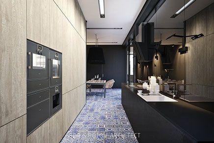 Matt schwarze Küche mit Delfst blauen Fliesen Wohnideen einrichten
