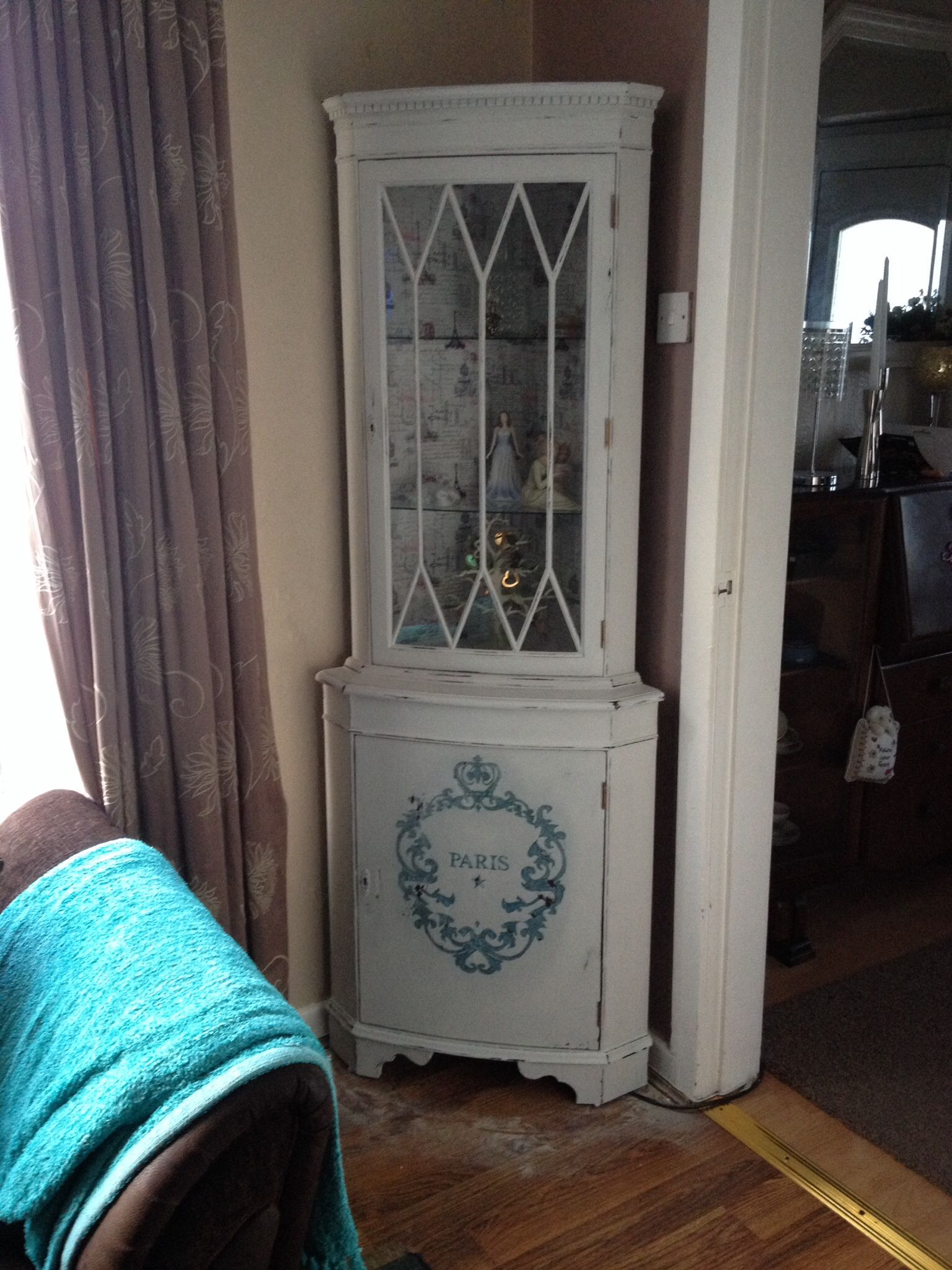 2nd shabby chic corner cabinet display unit with large hand drawn copy of a French Paris typography. Lined in French Eiffel Tower paper and distressed. Lived this price but had to sell it to make room for the 3rd cabinet I bought! By Donna Wilkinson
