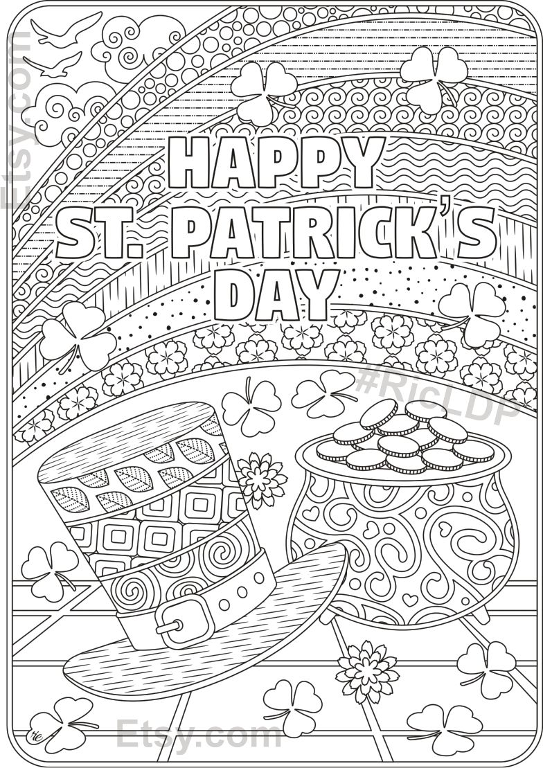 St Patricks Day Coloring Pages Flowers And Clover Leaves Etsy St Patricks Coloring Sheets Coloring Pages Valentines Day Coloring Page