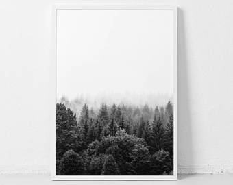 Forest Printable Forest Art Black And White Forest Minimalist Landscape Trees Fog Print Nature Pho Minimalist Photography Minimalist Landscape Forest Art