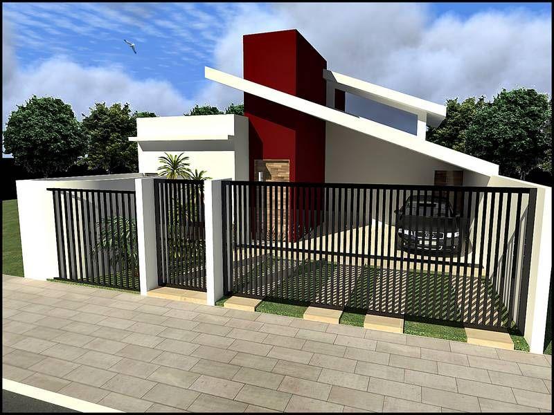 Modelo de fachada de casa planta de casa trrea com sutes for Modelo de casa un piso