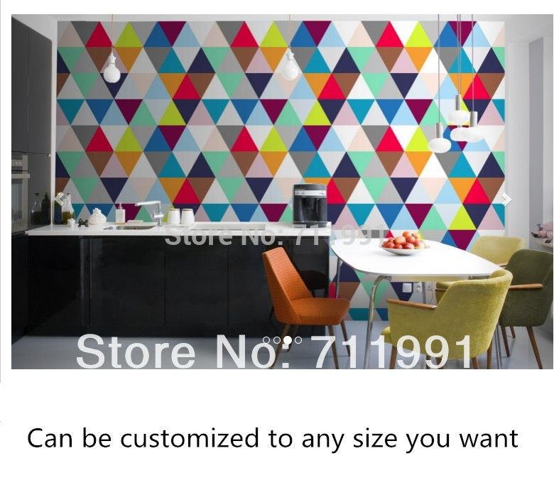 Custom wallpaper colorful triangle geometric backdrop for the