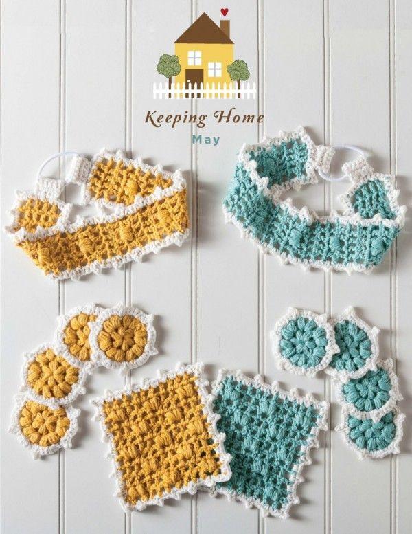 free crochet bath set pattern | Crochet Texture: Bobbles, Popcorns ...