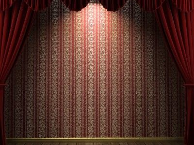 Red Velvet Theatre Curtains Ppt Backgrounds Striped Wallpaper Red Curtains Studio Backdrops