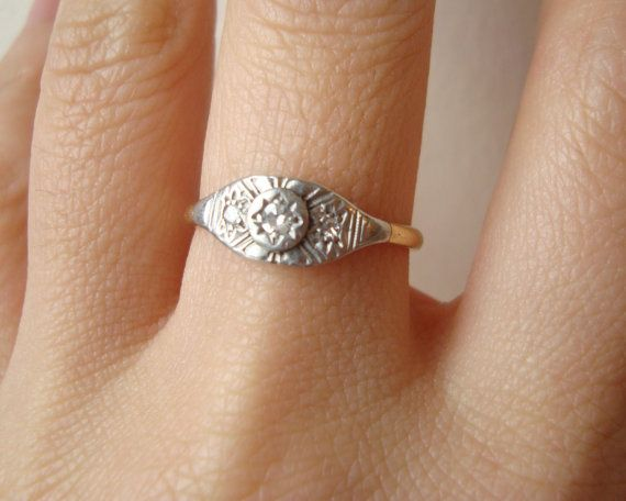 Antique Art Deco Diamond Engagement Ring Art Deco by luxedeluxe, $458.00