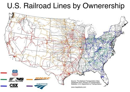 Major Us Rail Lines Map Maps on the Web | Us railroad map, Map, Train map