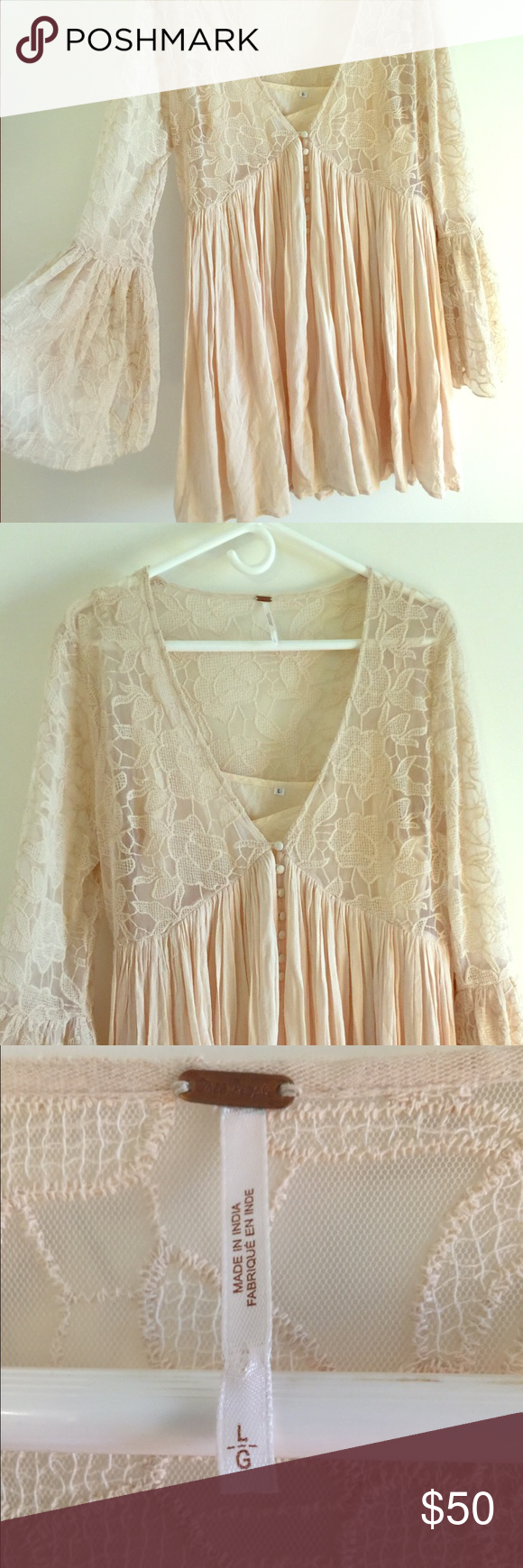 Free People Dress Size large Free People cream dress. Very boho and flowy! Comes with attached slip Free People Dresses Mini