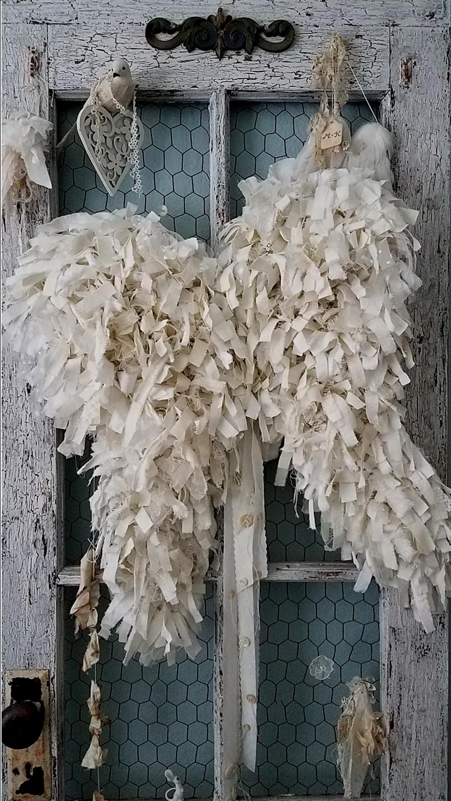 Large Tattered Shabby Chic Wire Angel Wings
