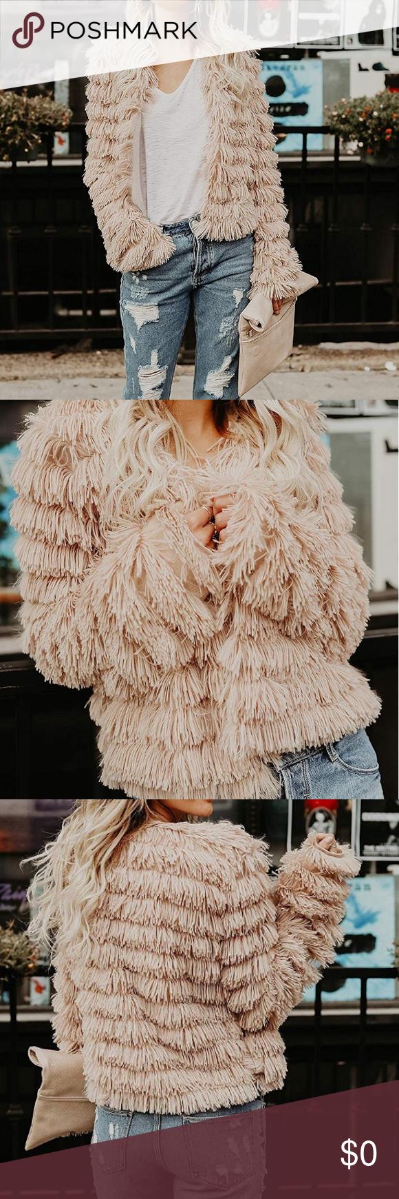 """Fashionista"" Open Front Faux Fur Fringe Coat NWOT Fringe"