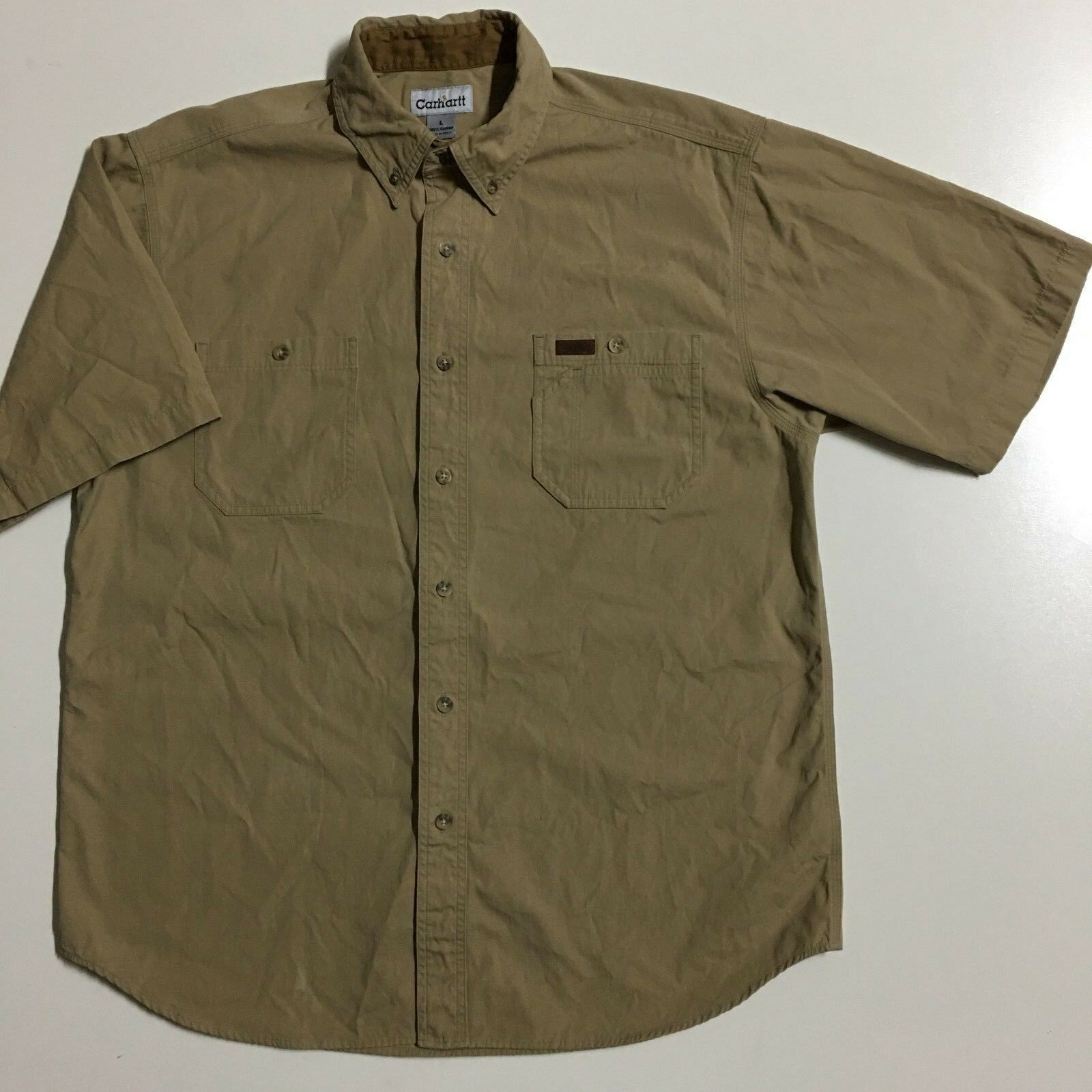 Carhartt Mens L Tan 100 Cotton Khaki Workwear Button Front Short Sleeve Shirt Ideas Of Carhartt Shirt Carharttshirt In 2020 Carhartt Shirts