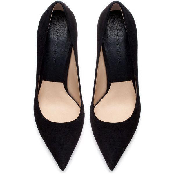 Zara Suede Leather High Heel Court Shoe