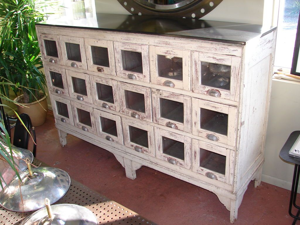 View This Item And Discover Similar Apothecary Cabinets For Sale At   Early  Shop Fitting, With 18 Glass Front Drawers With Original Hardware, And  Blackened ...