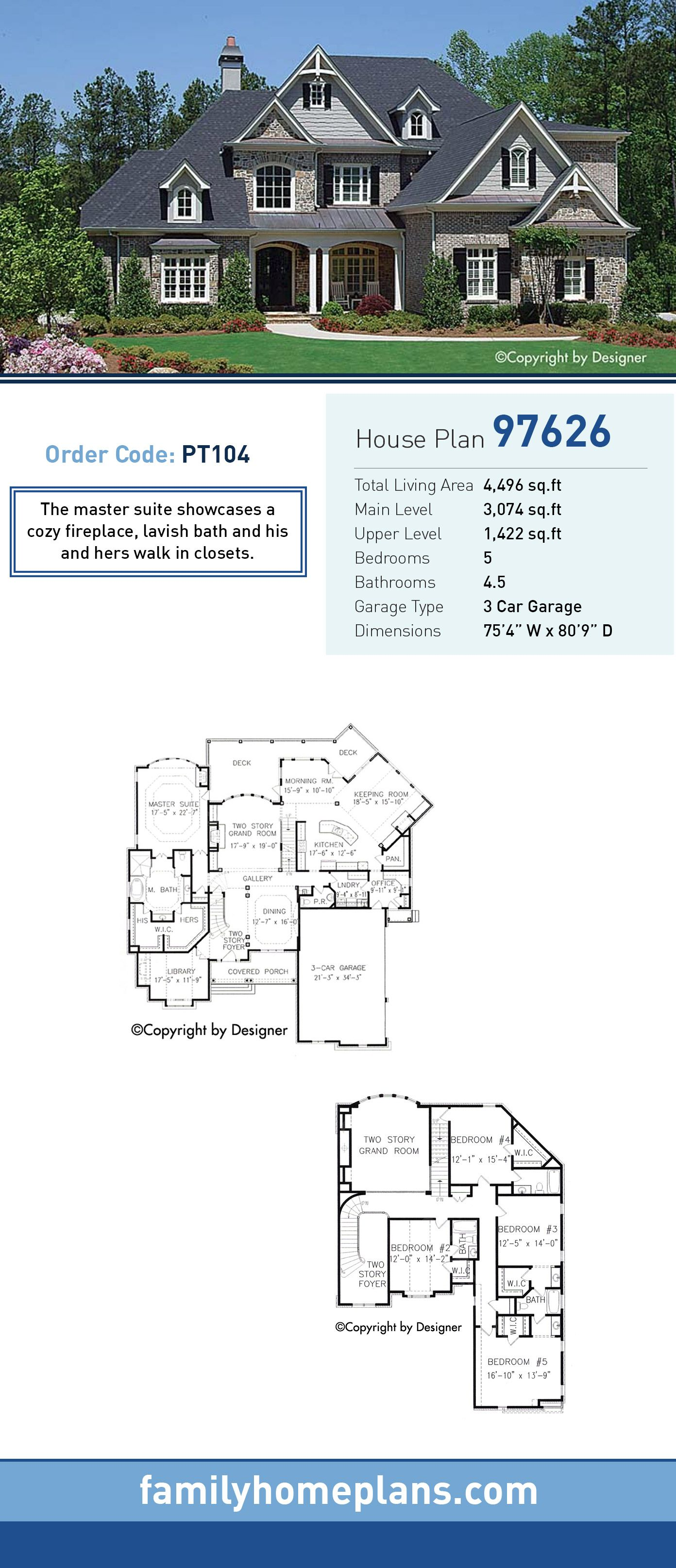 Traditional House Plan 97626 Total Living