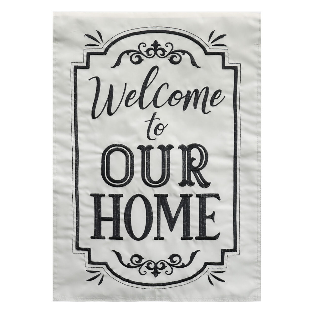 WELCOME TO OURHOME GARDN FLAG   At Home
