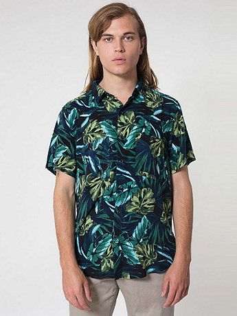 Printed Rayon Short Sleeve Button-Up Shirt in Jungle Leaves Print ... 63cf08e28