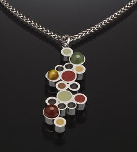 metal clay jewelry designs | Bubbles Pendant: Susan Kinzig: Silver, Stone & Polymer Clay Necklace ...
