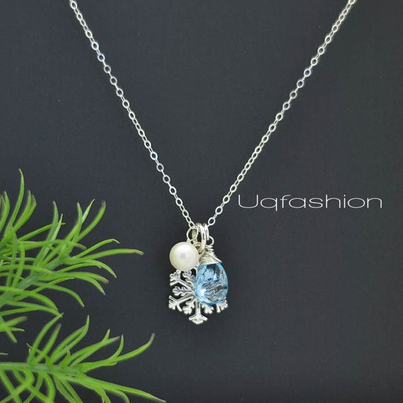 Christmas Jewelry Snowflake Necklace Winter Wedding by Uqfashion