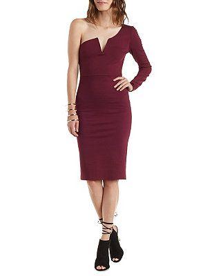 Long Sleeve One Shoulder Midi Dress: Charlotte Russe