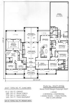 1 Story, 4 Bedroom, 4 Bathroom, 1 Dining room, 1 Family Room, and 3 Car Garage - 3527 SQ Living Area House Plan