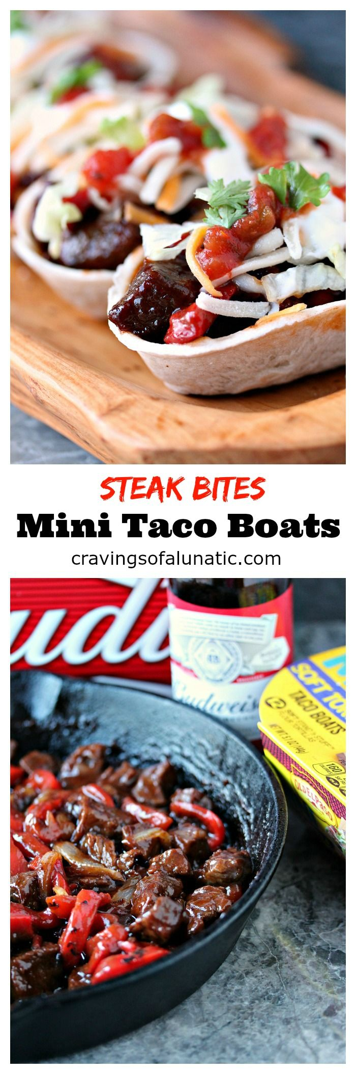Steak Bites Mini Taco Boats from cravingsofalunatic.com- This taco recipe uses steak marinated in beer, then cooked to perfection in a cast iron skillet, and topped with Barbecue Sauce. It's Tex-Mex in mini form. Every bite is full of flavour. (@CravingsLunatic) #sponsored