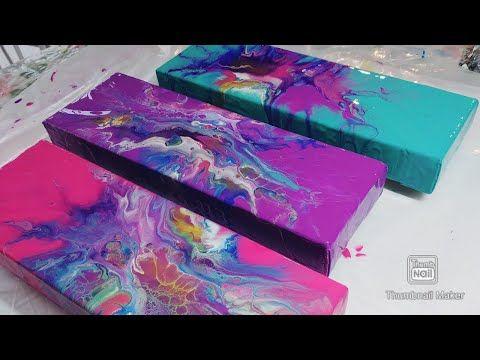 176. Gradient Dutch Pour Triptych | Mermaid Colors