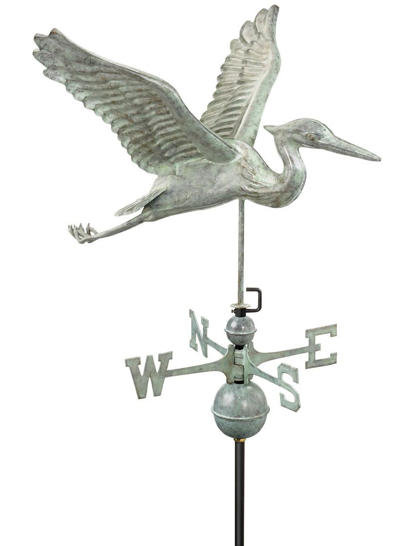 Blue Heron cuivre weathervane